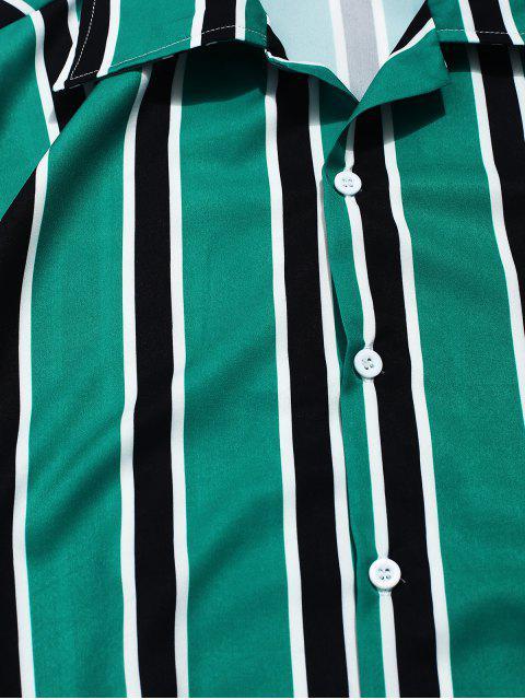 Strieifendruck- Knopf-Freizeithemd - Mittleres Meer Grün 2XL Mobile