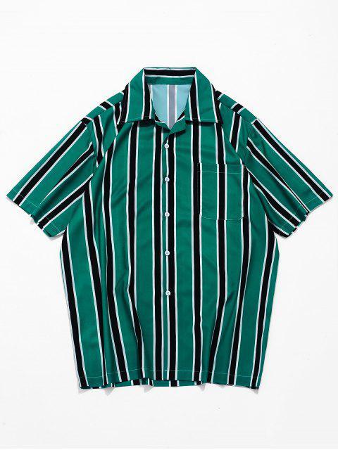 buy Stripes Print Button Up Casual Shirt - MEDIUM SEA GREEN L Mobile