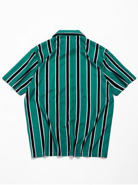 womens Stripes Print Button Up Casual Shirt - MEDIUM SEA GREEN XL Mobile