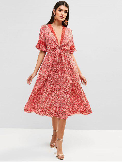 Robe Mi-Longue Fleurie Boutonnée Nouée en Avant - Rouge M Mobile