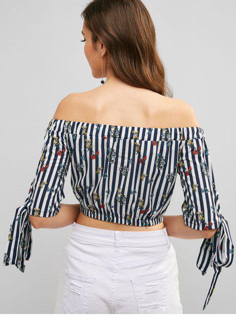 unique Off Shoulder Floral Print Striped Crop Blouse - MULTI-A M Mobile