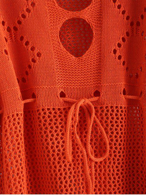 Robe au Crochet Découpée à Cordon - Orange Papaye Taille Unique Mobile
