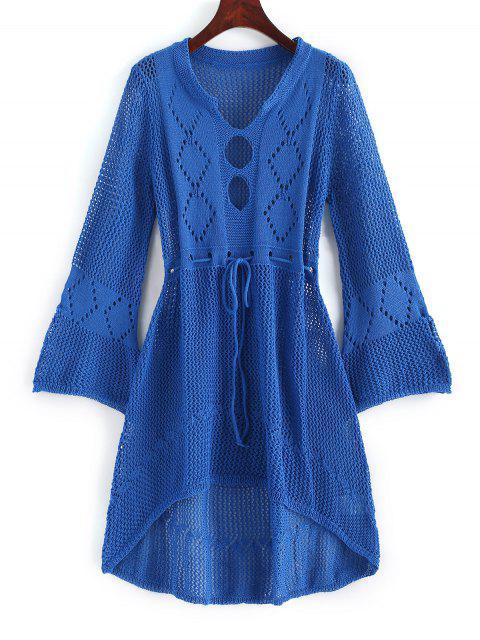 Robe au Crochet Découpée à Cordon - Bleu Myrtille Taille Unique Mobile