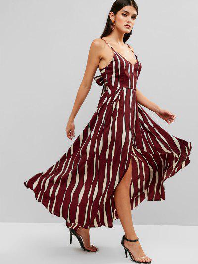 849b8d7de8 ... Tied Back Stripes Slit Cami Dress - Red Wine M