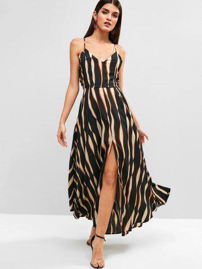434c2896a7 Tied Back Stripes Slit Cami Dress - Black - Black 2xl