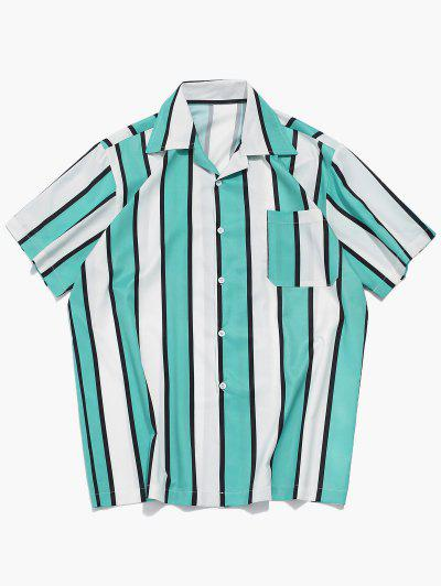 Color Block Stripes Print Casual Shirt - Macaw Blue Green 2xl
