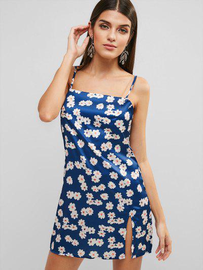 882541e998 Fenda Floral Cami Mini Vestido - Azul L ...