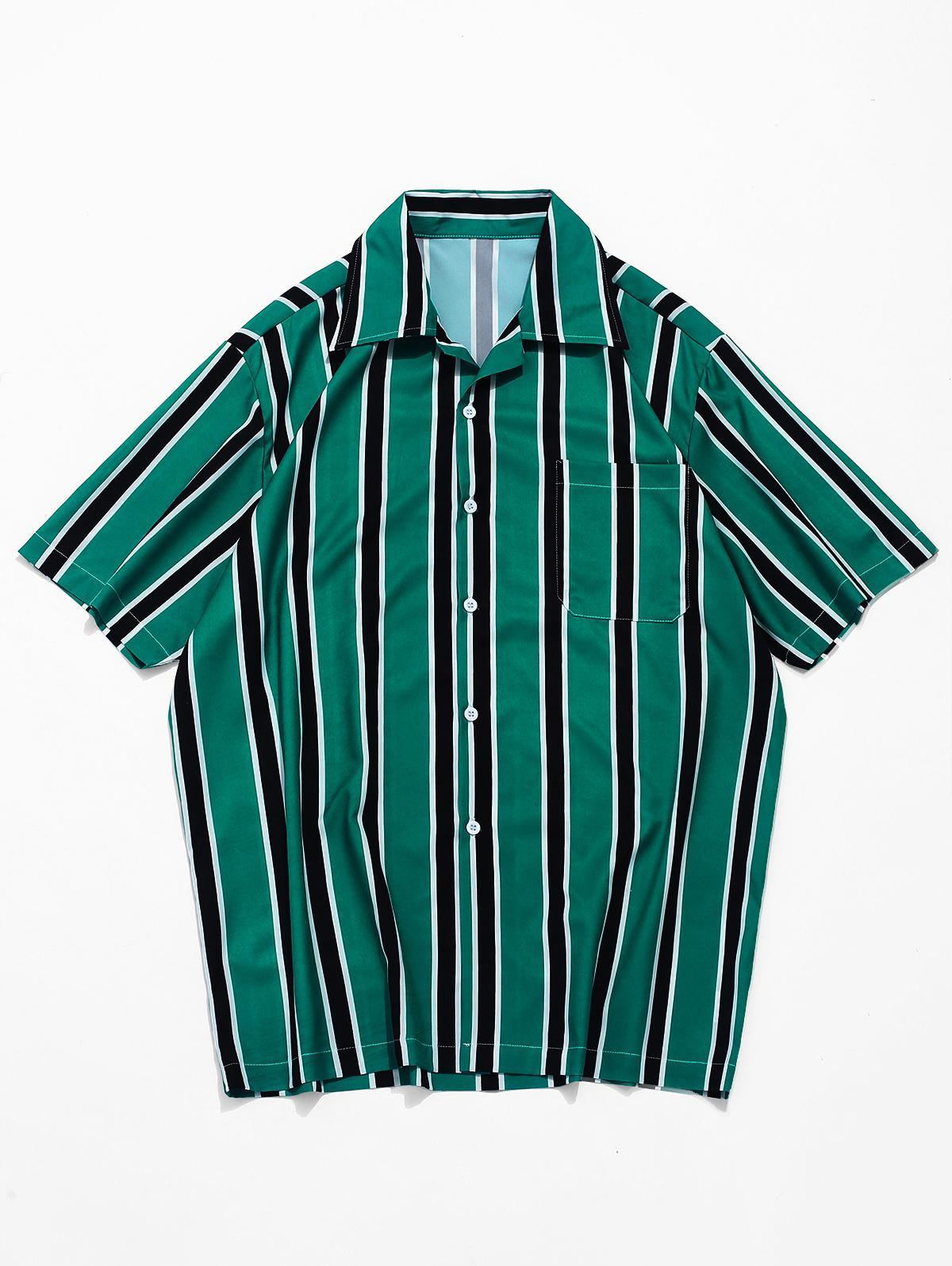 Stripes Print Button Up Casual Shirt, Medium sea green