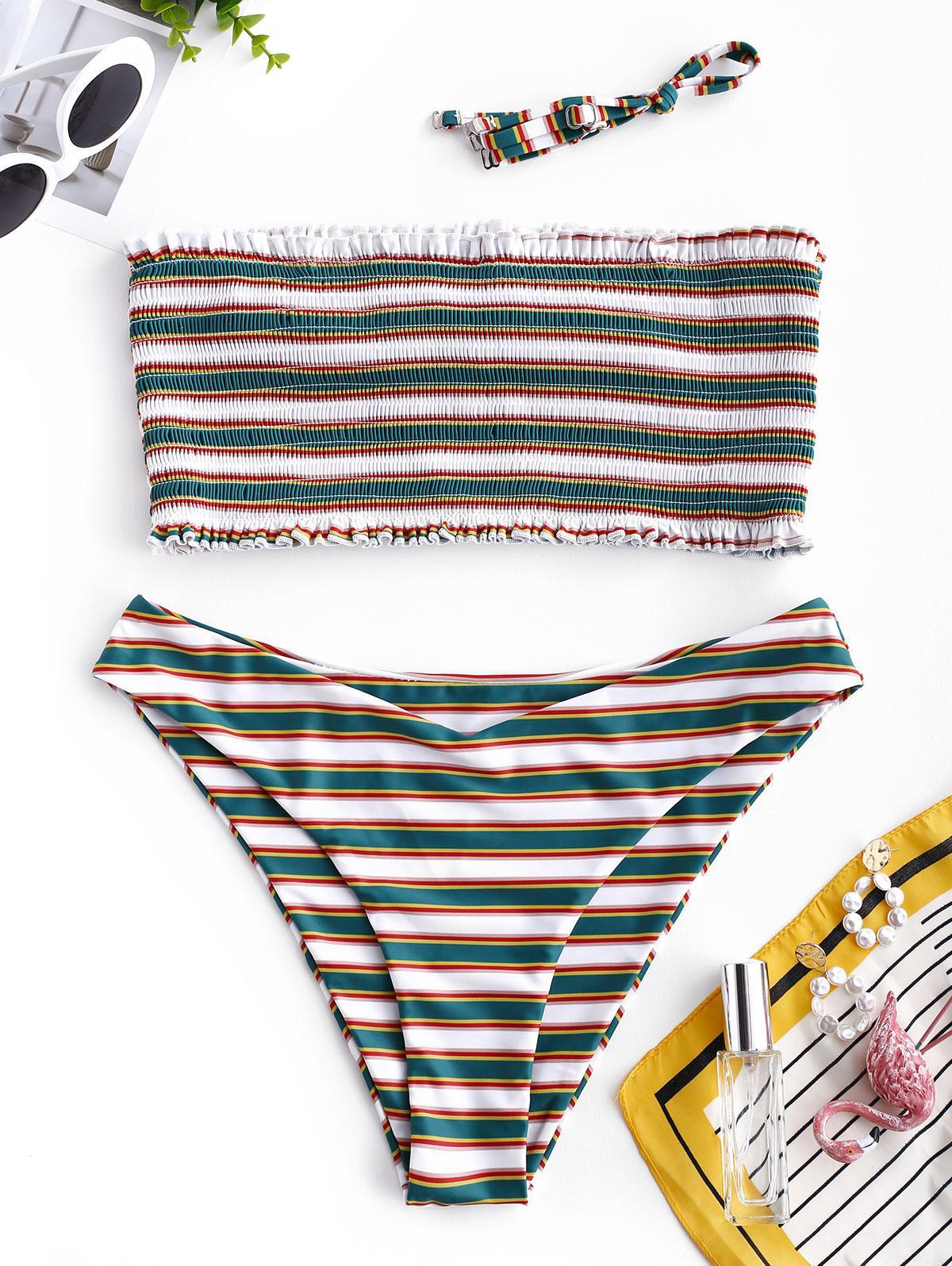 ZAFUL Striped Smocked Bandeau Bikini Set, Multi-a