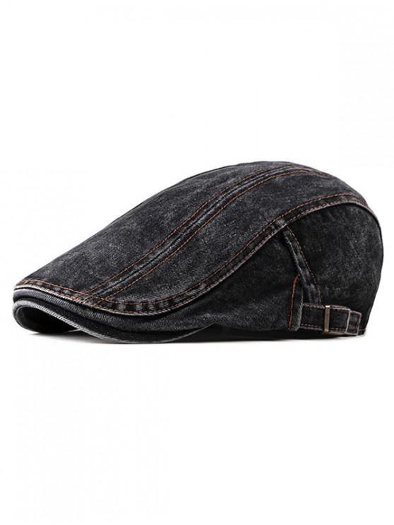 womens Casual Denim Flat Cap - BLACK