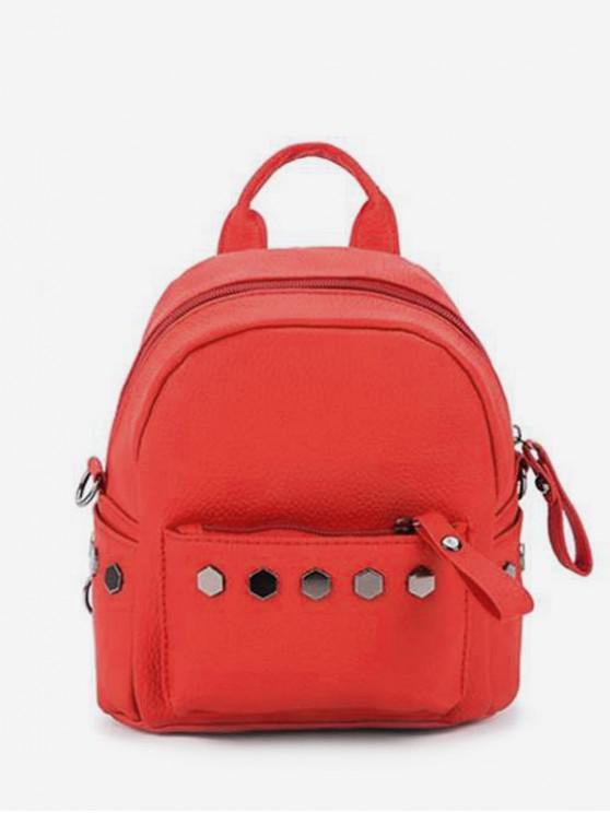lady Studded PU Leather Mini Backpack - RED