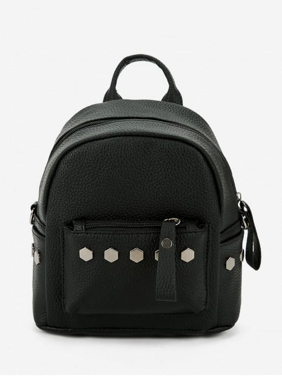 fancy Studded PU Leather Mini Backpack - BLACK