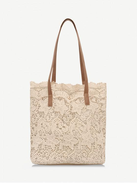 ladies Trendy Lace Hollow Out Shoulder Bag - LIGHT KHAKI
