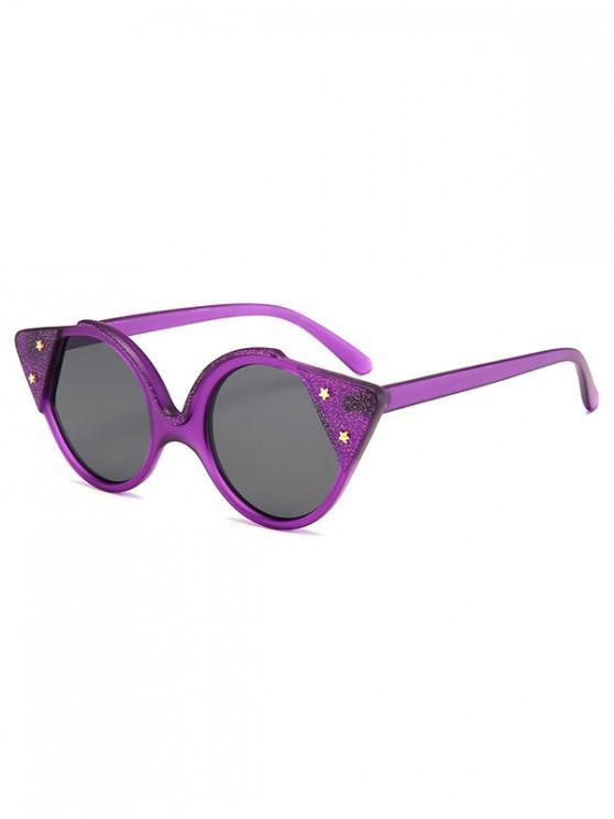 new Star Round Catty Eye Sunglasses - PURPLE FLOWER REGULAR