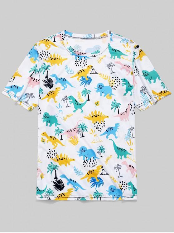 ladies Dinosaur Plant Print Short Sleeves T-shirt - WHITE L