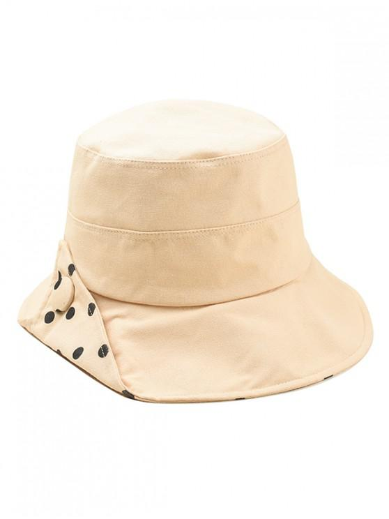 hot Polka Dot Cotton Bucket Hat - KHAKI