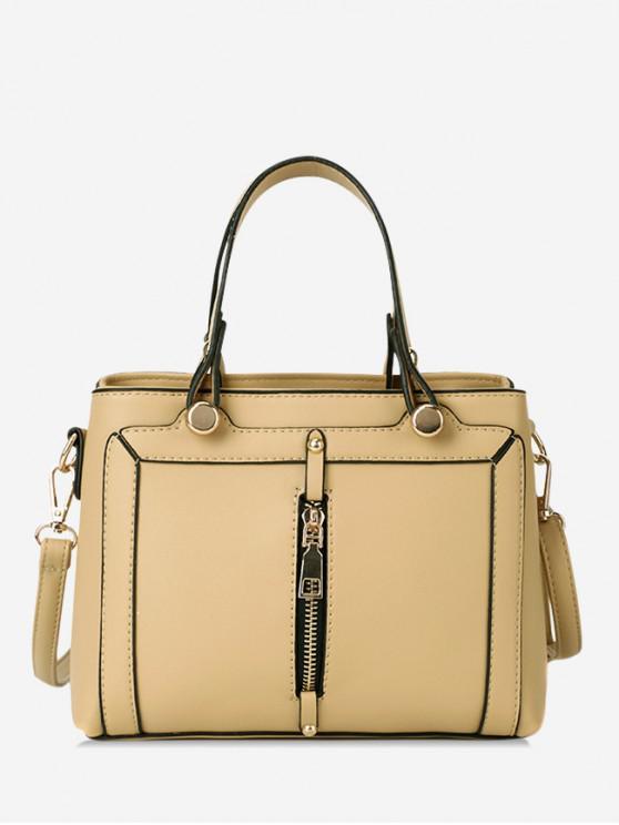 shops Simple Zip Design Portable Handbag - YELLOW
