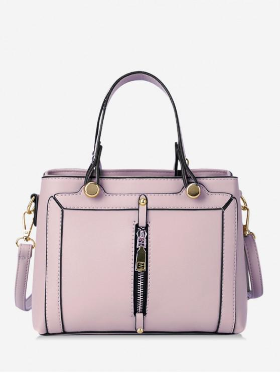 ladies Simple Zip Design Portable Handbag - PINK