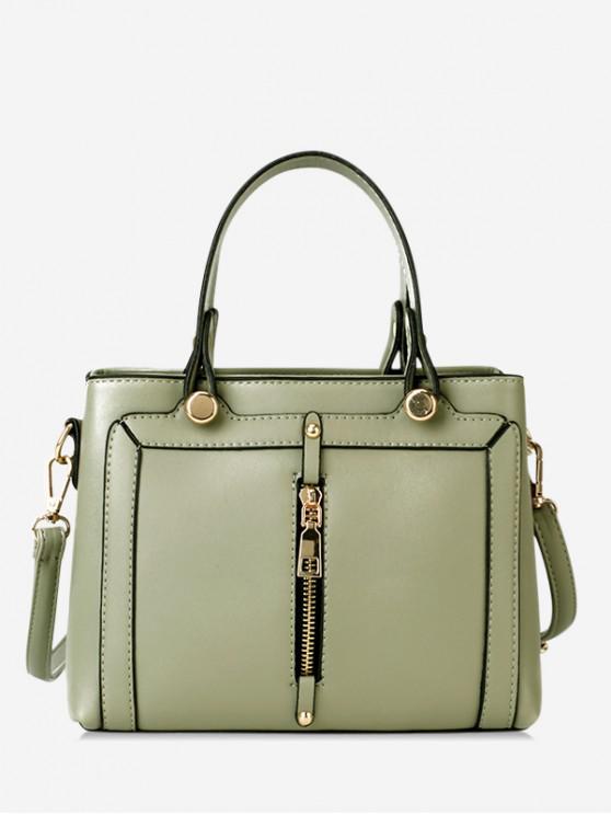 best Simple Zip Design Portable Handbag - GREEN