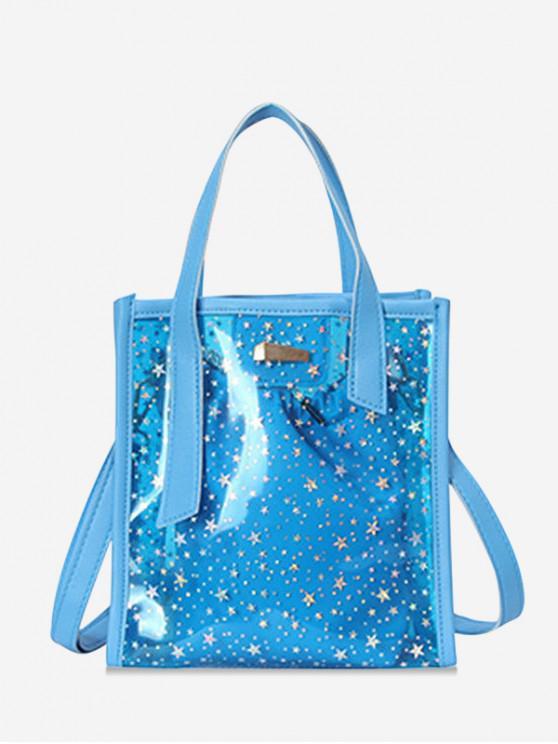 latest Star Pattern Transparent PVC Handbag - BLUE