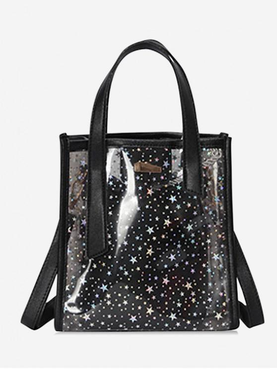 trendy Star Pattern Transparent PVC Handbag - BLACK