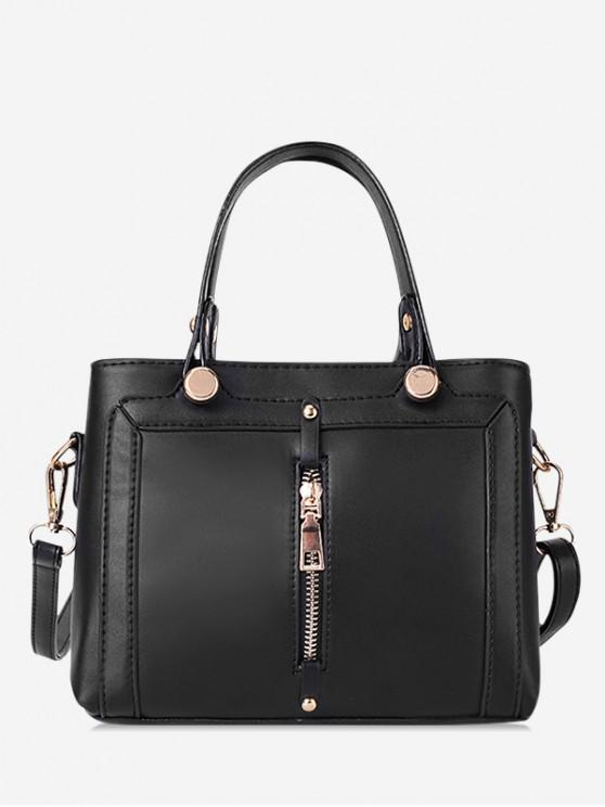 unique Simple Zip Design Portable Handbag - BLACK