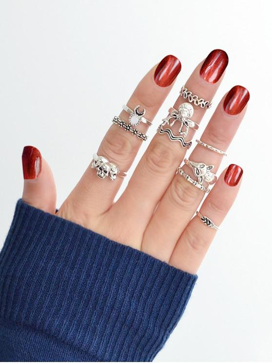 women's 10Pcs Animal Retro Carved Rings Set - SILVER