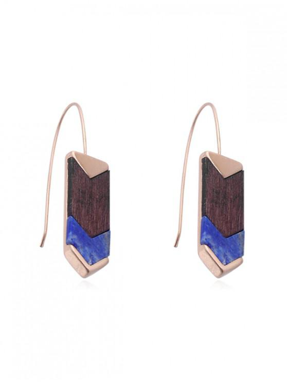lady Personality Wooden Hook Earrings - COBALT BLUE