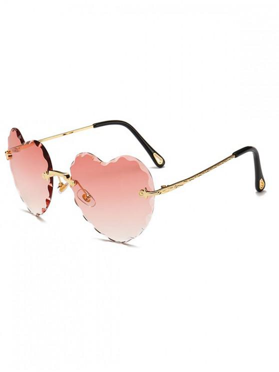 online Rimless Wavy Heart Sunglasses - PINK ROSE REGULAR