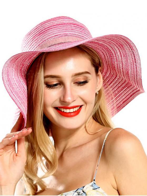 outfit Wide Brim Striped Folding Beach Hat - ROSE RED