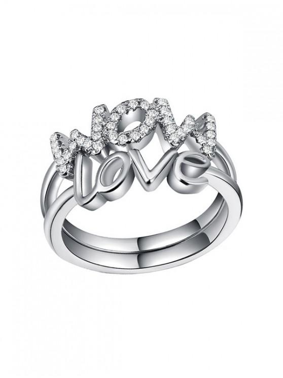 fashion 2Pcs Love Mom Letter Ring Set - SILVER 6