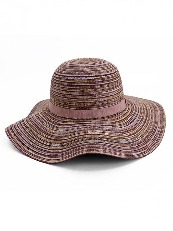 buy Wide Brim Striped Folding Beach Hat - PURPLE
