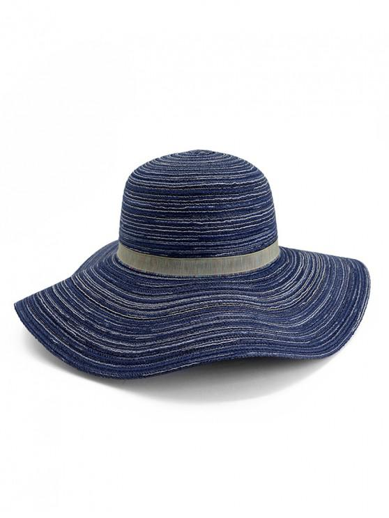 womens Wide Brim Striped Folding Beach Hat - CADETBLUE