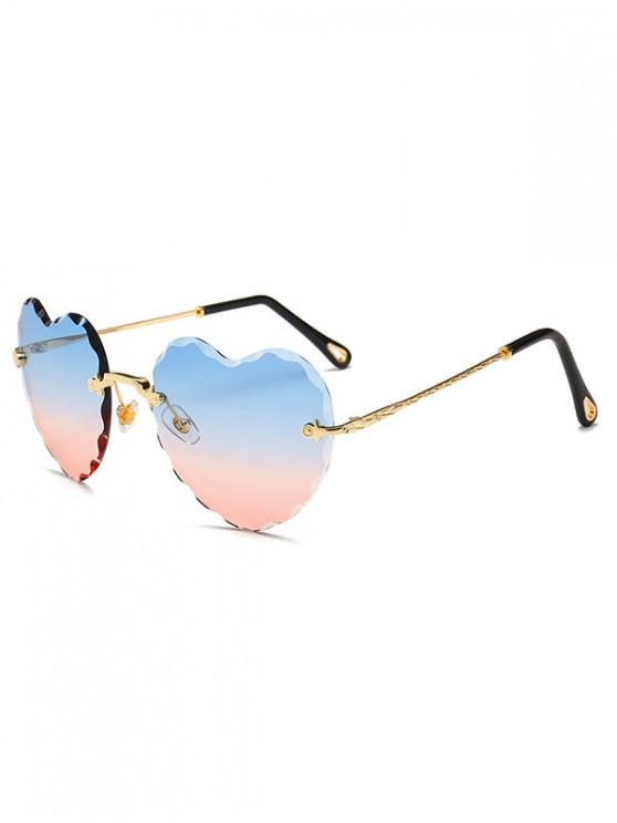 ladies Rimless Wavy Heart Sunglasses - PALE BLUE LILY REGULAR