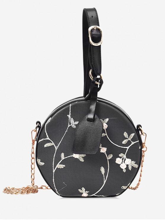 shop Lace Flower Canteen Handbag - BLACK
