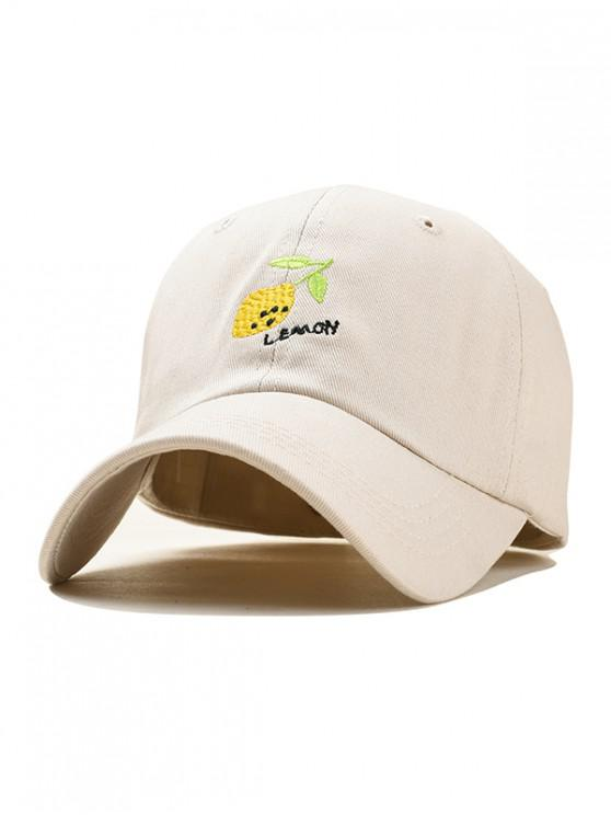 trendy Lemon Embroidery Baseball Cap - BEIGE
