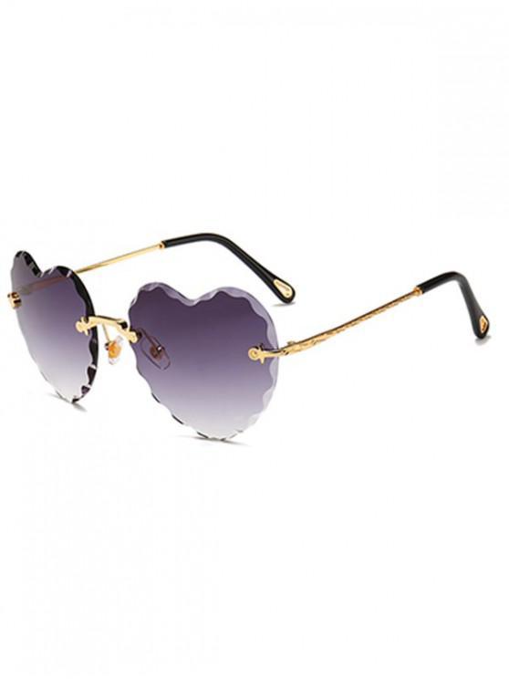 women Rimless Wavy Heart Sunglasses - VIOLA PURPLE REGULAR