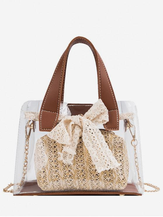 lady Sweet Bow Transparent Tote Bag - BROWN