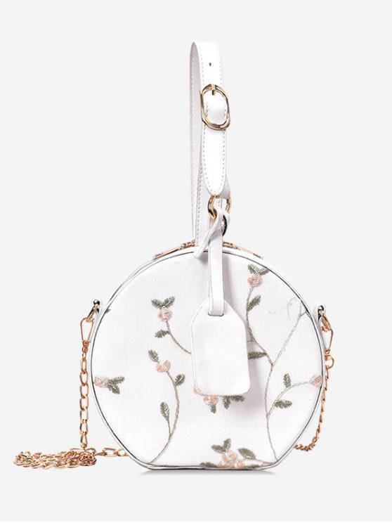 best Lace Flower Canteen Handbag - WHITE