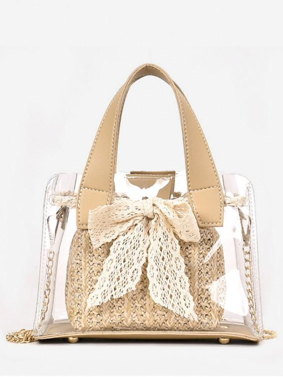 hot Sweet Bow Transparent Tote Bag - LIGHT KHAKI