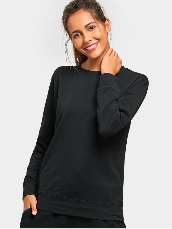 fashion Casual Crew Neck Sweatshirt - BLACK XL