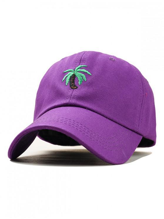 lady Embroidery Coconut Tree Baseball Cap - PURPLE