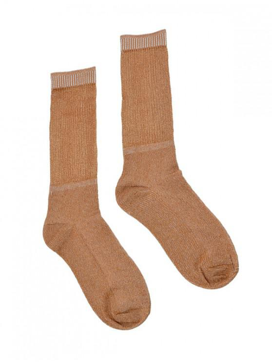 hot Metallic Thin Crew Length Socks - TIGER ORANGE
