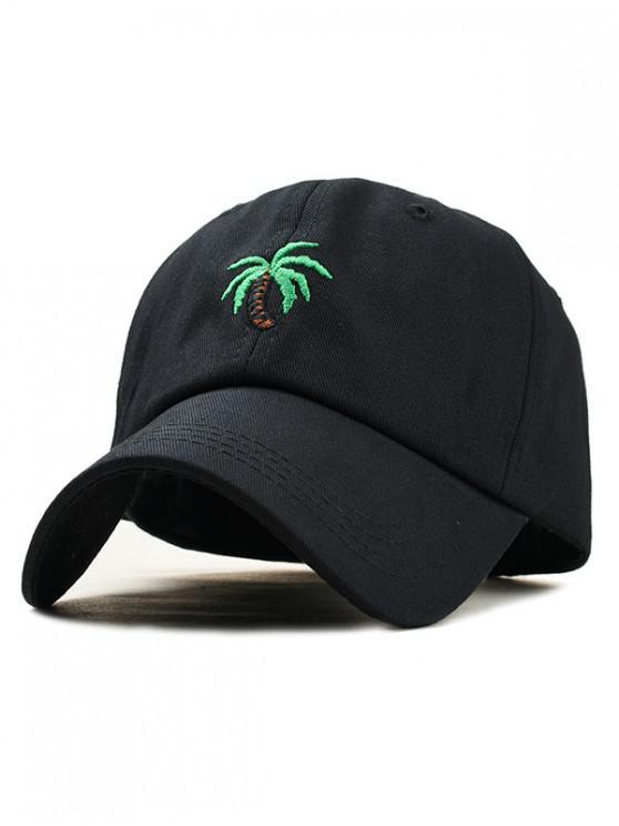women Embroidery Coconut Tree Baseball Cap - BLACK