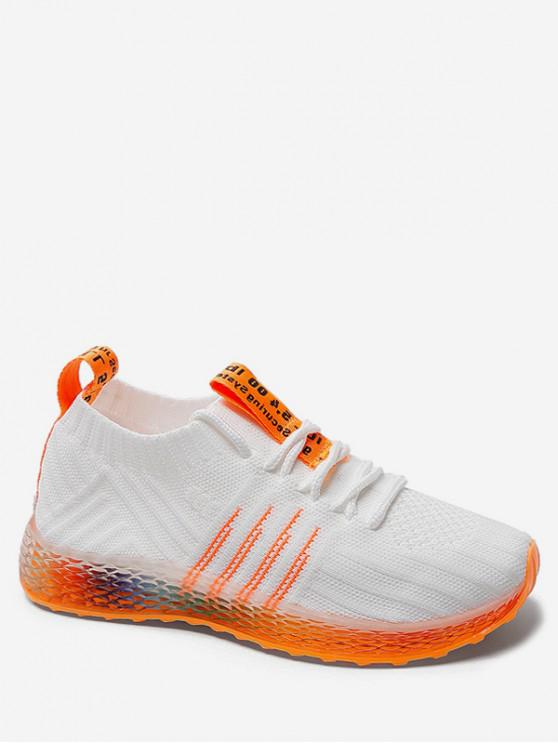 shop Knit Mesh Breathable Gradient Running Shoes - WHITE EU 39
