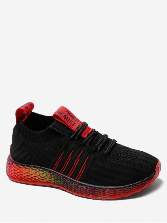 chic Knit Mesh Breathable Gradient Running Shoes - BLACK EU 36
