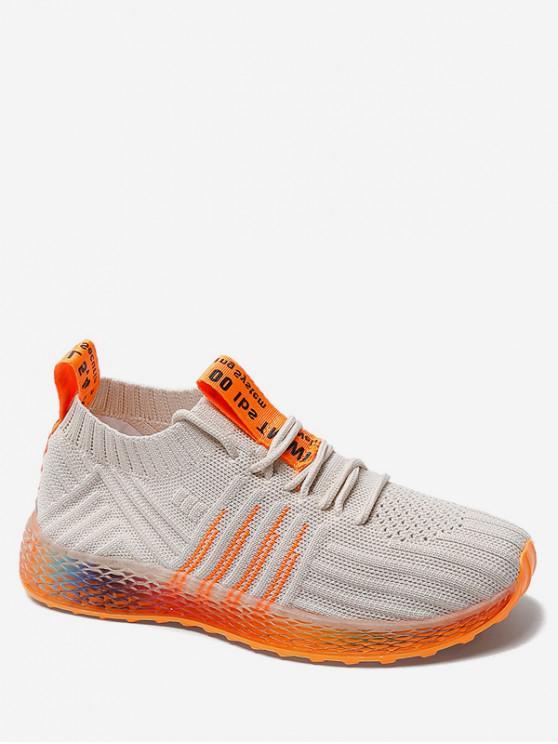 unique Knit Mesh Breathable Gradient Running Shoes - BEIGE EU 39