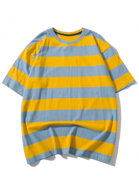 fashion Striped Design Drop Shoulder T-shirt - MULTI 2XL