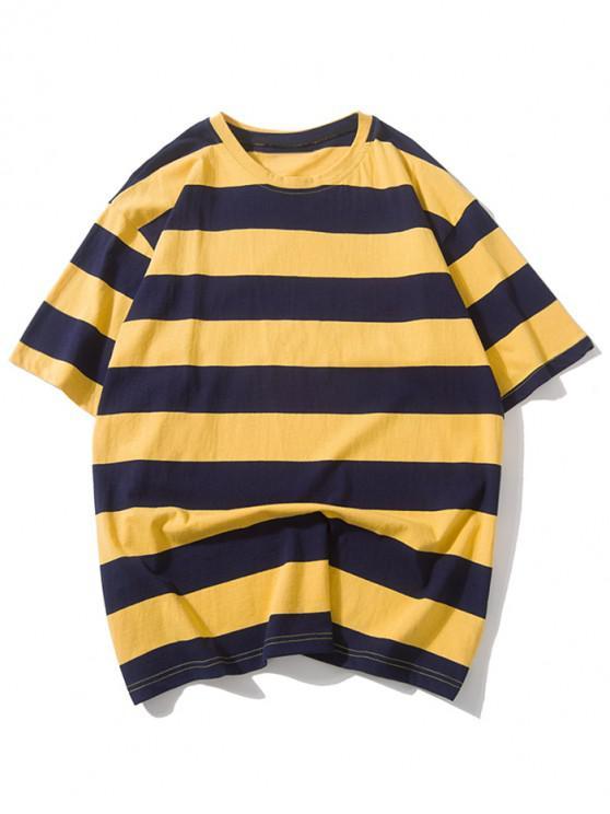 Gestreifter Stil -Fallschulter -T-Shirt - Multi-A XL