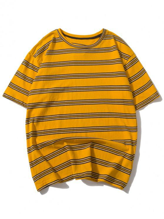 women's Striped Print Casual Drop Shoulder T-shirt - MULTI M